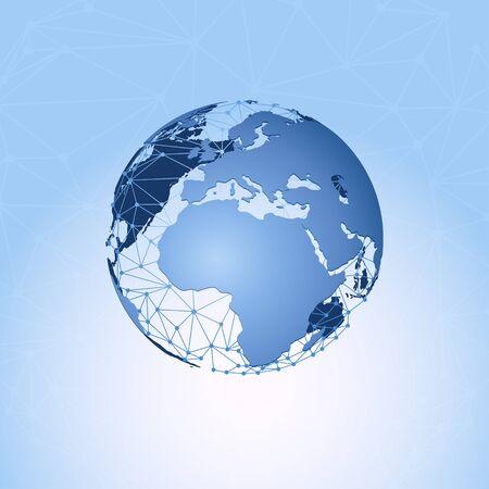 Weltkarte und globale Kommunikation Netzwerk . Vektor-Illustration Standard-Bild - 95816030