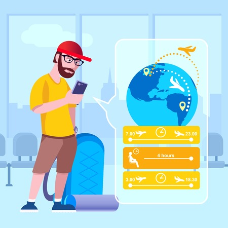 The traveler at the airport looks at the flight route in the phone. Vector illustration