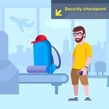 A traveler at the airport is checking baggage. Vector background  イラスト・ベクター素材