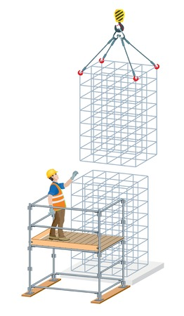 Rebar work in construction site. Vector illustration on white background