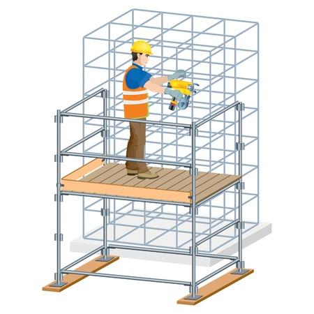 Bewehrungsarbeiten auf der Baustelle. Vektorabbildung auf weißem Hintergrund Standard-Bild - 95816029