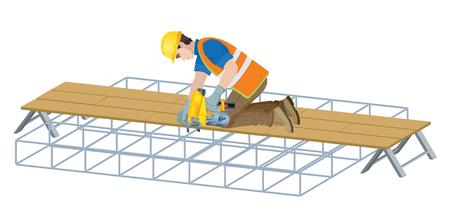 Rebar work in construction site. Vector illustration on white background