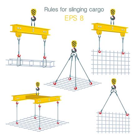 Regeln für das Schleudern von Ladung. Sicherheit auf der Baustelle. Heben von Baueinheiten. Satz Vektorillustrationen auf weißem Hintergrund Standard-Bild - 96137792
