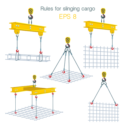Rules for slinging cargo. Safety at the construction site. Lifting of building units. Set of vector illustrations on white background Illusztráció