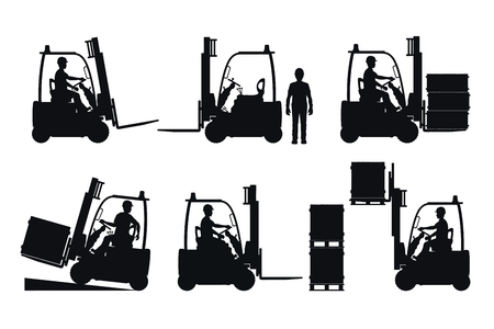 Electric forklift. Vector silhouettes on white background