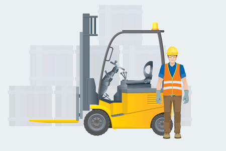 Forklift electric. Modern warehouse. Vector illustration