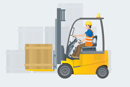 Forklift electric. Modern warehouse. Vector illustration Vettoriali