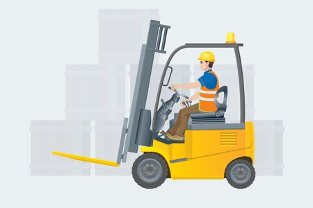 Forklift electric. Modern warehouse. Vector illustration 向量圖像
