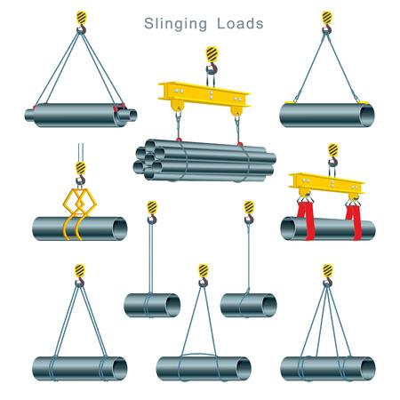 Uso apropiado de la eslinga durante la operación de una grúa torre en el sitio de construcción. Slinging Loads. Conjunto de ilustraciones vectoriales sobre fondo blanco. Ilustración de vector