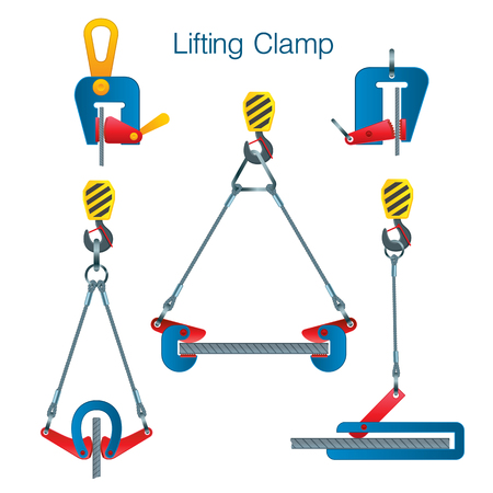 Types of lifting clamps for metal products. Rules for using a lifting clamp. Set of vector illustrations on white background