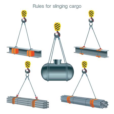 Reglas para lanzar carga. Seguridad en el sitio de construcción. Levantamiento de productos metálicos. Conjunto de ilustraciones vectoriales sobre fondo blanco. Ilustración de vector