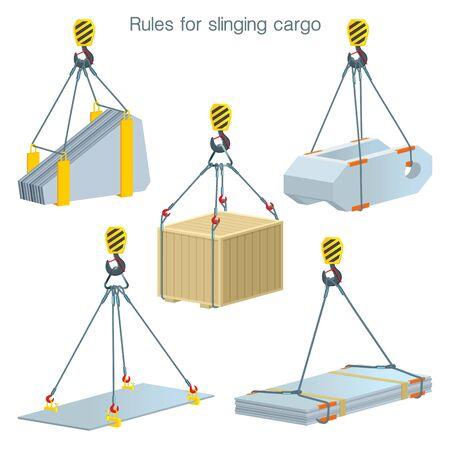 Reglas para lanzar carga. Seguridad en el sitio de construcción. Elevación de unidades de construcción. Conjunto de ilustraciones vectoriales sobre fondo blanco.