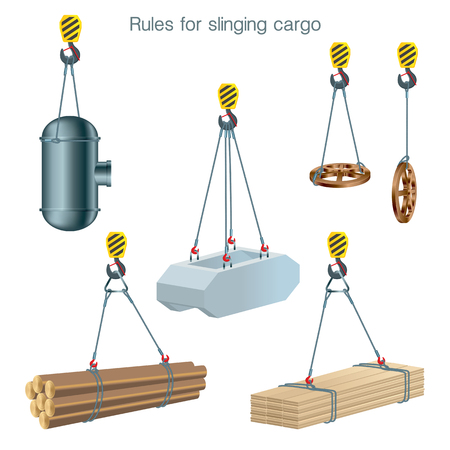 Rules for slinging cargo. Safety at the construction site. Lifting of building units. Set of vector illustrations on white background Stock Illustratie