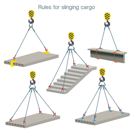 Rules for slinging cargo. Safety at the construction site. Lifting of reinforced concrete products. Set of vector illustrations on white background