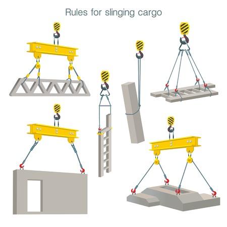 Reglas para lanzar carga. Seguridad en el sitio de construcción. Elevación de productos de hormigón armado. Conjunto de ilustraciones vectoriales sobre fondo blanco.