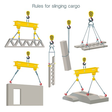 Rules for slinging cargo. Safety at the construction site. Lifting of reinforced concrete products. Set of vector illustrations on white background Banque d'images - 95816159