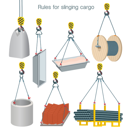 Rules for slinging cargo. Safety at the construction site. Lifting of building units. Set of vector illustrations on white background Vectores