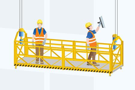 Cradle or  Gondola. Suspended Platform. Mobile Lifting Platform with workers . Vector illustration.