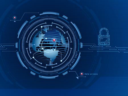 Datenschutz im globalen Netzwerk . Datenschutz . Zugriff ist Daten zu Verschlüsselung . Vektor-Illustration Standard-Bild - 95816162