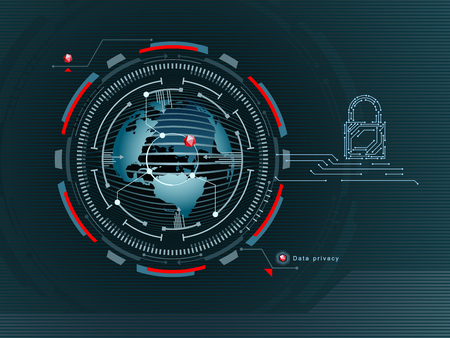 Data protection in the global network. Confidentiality on the Internet. Access to the data is closed. Vector illustration. Иллюстрация