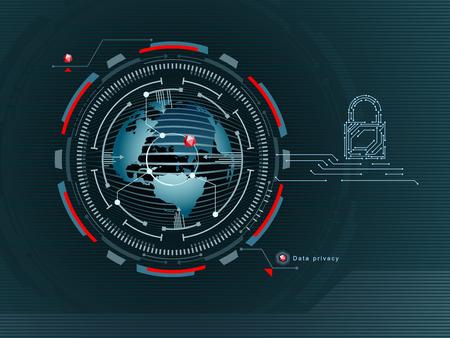 Datenschutz im globalen Netzwerk . Vertraulichkeit im Internet . Zugriff ist die Daten . Nahansicht . Vektor-Illustration Standard-Bild - 95816168