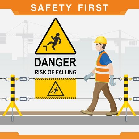 Safety at the construction site. Safety first. Danger. Risk of falling. Vector illustration