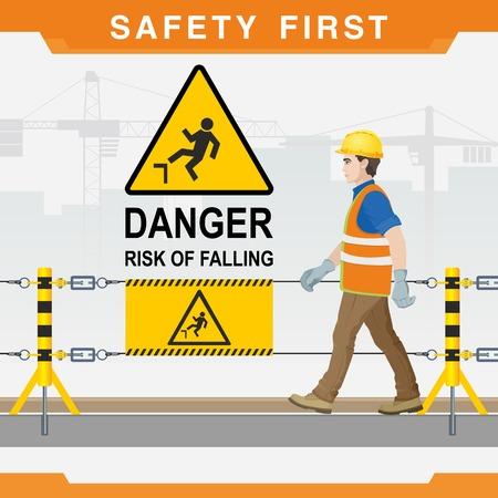 Sicherheit auf der Baustelle. Sicherheit zuerst. Achtung. Sturzgefahr. Vektor-illustration Standard-Bild - 97382217
