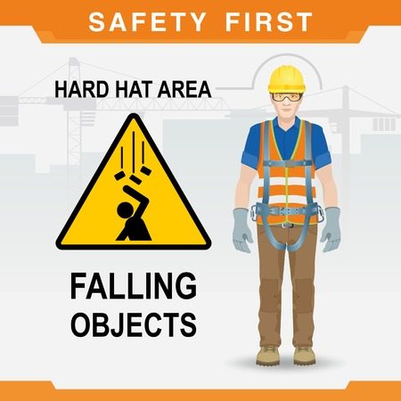 Safety at the construction site. Safety first. Falling objects. Hard hat area. Vector illustration Foto de archivo - 97382212