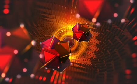 Information blocks in the data stream. Big Data concept. Quantum computer. Nanotechnology of the future. Hadron Collider, abstract 3d illustration