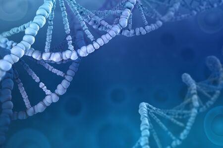 3D illustration of a DNA molecule. Investigation of cellular structure. Modern digital concept on a blue background
