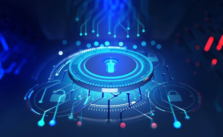 Security online. Data protection. Digital key and identification. Concept of cyberspace of the future. 3D illustration on tech background