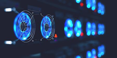 Cryptocurrency mining farm. 3d illustration of abstract cyberspace Blockchain on a dark background