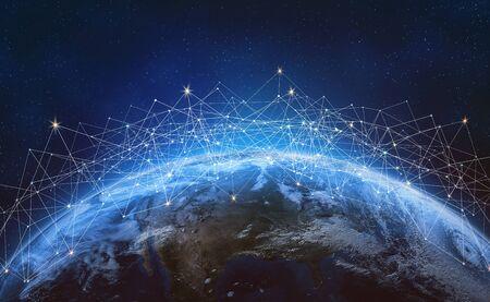 Global network across the planet Earth.  Blockchain. E