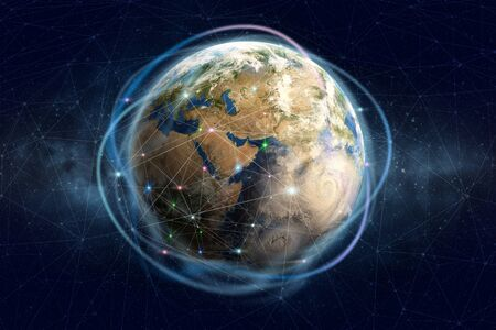Block chain technology. Global information network of the planet earth. Financial and communication security. E