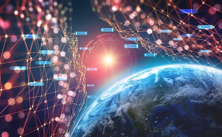 Planet Earth in the era of digital technology. Global communication networks of future. Data storage system. 3D illustration of Artificial Intelligence. Archivio Fotografico