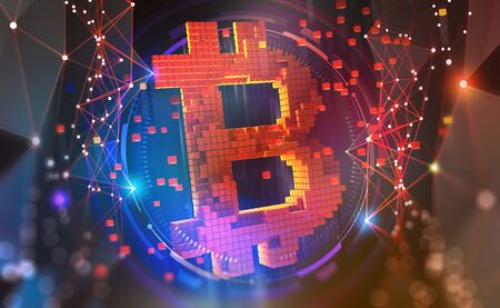 Bitcoin symbol. Concept of cryptocurrency mining. 3D illustration on a technological background