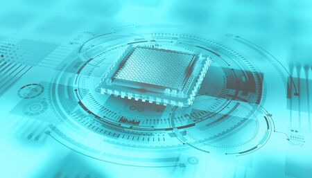 Futuristic CPU. Quantum processor in the global computer network. 3d illustration of digital cyberspace with HUD element Archivio Fotografico
