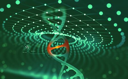 DNA helix. Innovative technologies in the study of the human genome. Artificial intelligence in the medicine of the future. 3D illustration of a DNA molecule with a nanotech network Archivio Fotografico