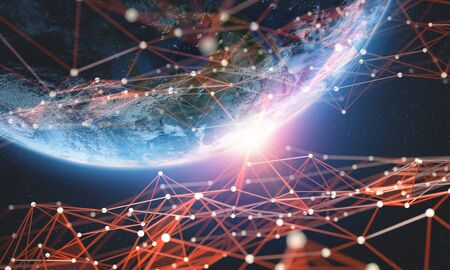 Global network. Big data planet earth 3D illustration. Block chain technology.