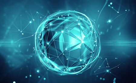 Artificial intelligence. Digital mind. Wireless network technology. 3D illustration of an innovative processor in the global cyberspace of the future
