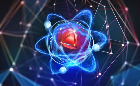 Atomic structure. Futuristic concept. Nanotechnology of future. Neural connections of artificial intelligence. 3d illustration of nano core in abstract cyberspace