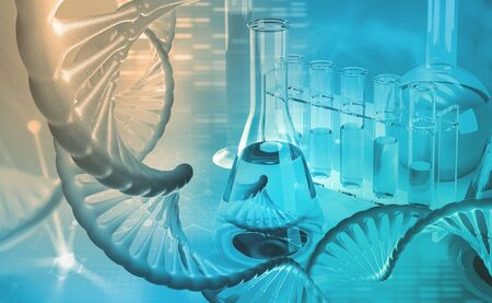 DNA. Microbiology. Scientific laboratory. Studies of the human genome. 3d illustration on a medical theme Archivio Fotografico