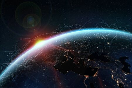 Global network. A picture from the space of the planet Earth. Globalization concept. Archivio Fotografico
