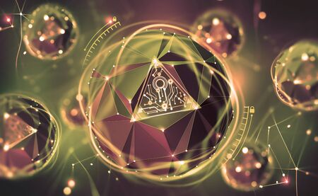 Cybersecurity online. Concept of global network protection. 3D illustration of a futuristic digital lock. Neon light and a ball of desires from polygonal elements Archivio Fotografico