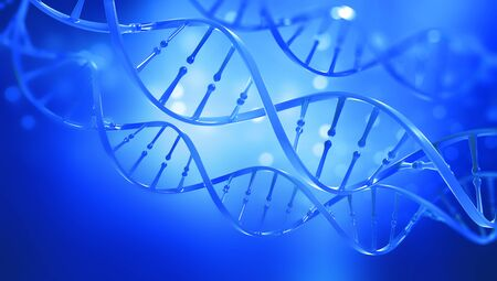 DNA. Study of gene structure of cell. DNA molecule structure. 3D double helix illustration. Genetic engineering of the future. Full color, bright background
