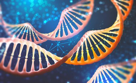 DNA research molecule. 3D illustration. Analysis of structure human genome