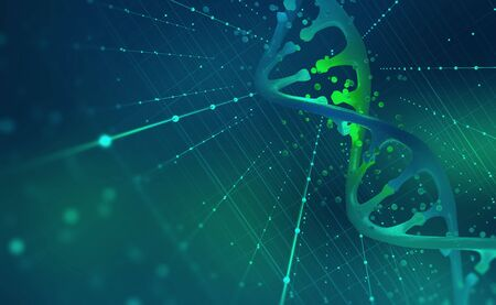 DNA helix. Hi Tech technology in the field of genetic engineering. 3D illustration on a futuristic background