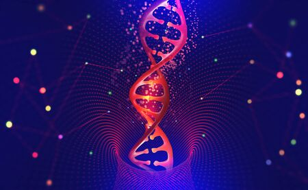 DNA helix. Hi Tech technology in the field of genetic engineering. Scientific breakthrough in human genetics. 3D illustration of a DNA molecule with a nanotech network
