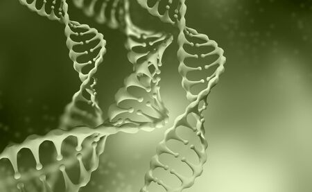 DNA genome research. DNA molecule structure. 3D double helix illustration. Genetic engineering of the future