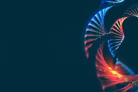 Futuristic design element on the topic of DNA research. 3d illustration of a DNA helix on a dark background Archivio Fotografico